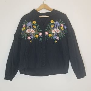 Topshop button down with embroidered flowers